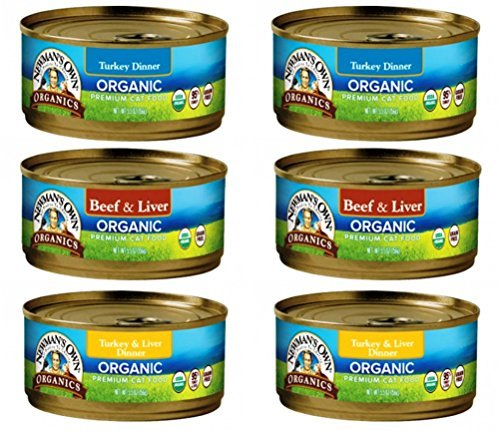 Kitty Own (Newman's Own Organic Cat Food 3 Flavor 6 Can Bundle, 2 each: Turkey Dinner, Beef & Liver, Turkey Liver Dinner (5.5 Ounces))