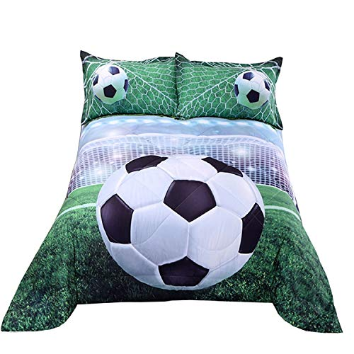 Price comparison product image Wowelife 3D Soccer Comforter Set Queen Green Playground Kids Soccer Bedding Sets 5 Piece with Comforter, Flat Sheet, Fitted Sheet and 2 Pillow Cases(Green Soccer, Queen)