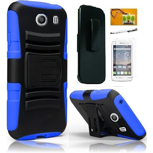 Samsung S766C Galaxy Stardust, LF Hybrid Armor Stand Case with Holster and Locking Belt Clip, Stylus Pen, Screen Protector & Wiper Accessories (Holster Blue)