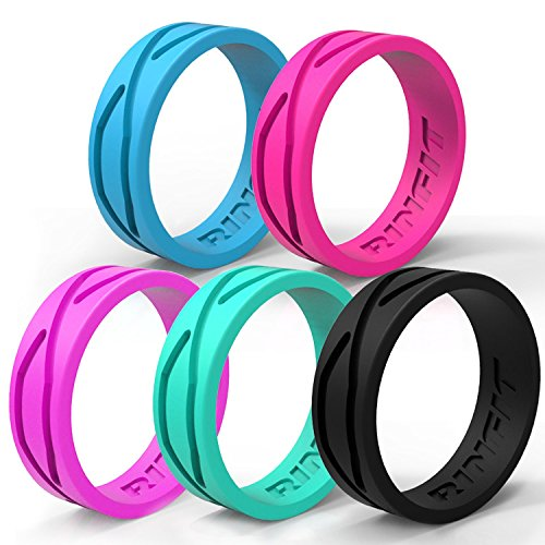 RINFIT Women's Silicone Ring | Wedding Band – 5 Rings Pack - Designed Silicone Rings - Black, Turquoise, Blue, Pink, Purple - Comes with a Gift Box! (8) (Gift Classic Box Pink)