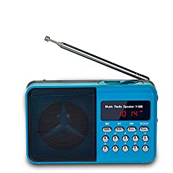 Gtide Multifunctional Mini Radio Fm with MP3 Player and Speaker (Blue)