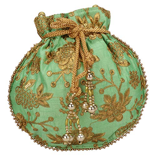 Indian Ethnic Designer Embroidered Silk Potli Bag Batwa Pearls Handle Purse (Satin Embroidered Gift Bag)