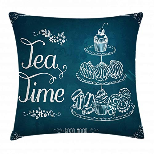 HFYZT Tea Throw Pillow Cushion Cover, Pastries Bakery Cookies Muffin Cake Biscuit Morning Sweet Brunch Menu Artful, Decorative Square Accent Pillow Case, 18 X 18 Inches, Petrol Blue and White