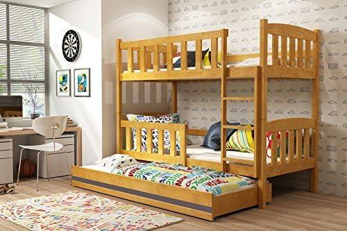 Jacob de los niños litera con extraíble nido, madera maciza de camas para niños + libre colchones, Alder - Graphite, 190x80: Amazon.es: Hogar