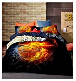 Lldaily 3D Sports Basketball Bedding Set for Teen Boys,Duvet Cover Sets with Pillowcases,Twin Size,2PCS,1 Duvet cover+1 pillow shams