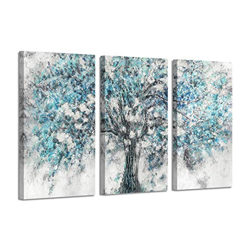 Abstract Tree Canvas Wall Art: Silver Foil Blooming Tree Artwork Painting Picture on Canvas for Living Rooms (26