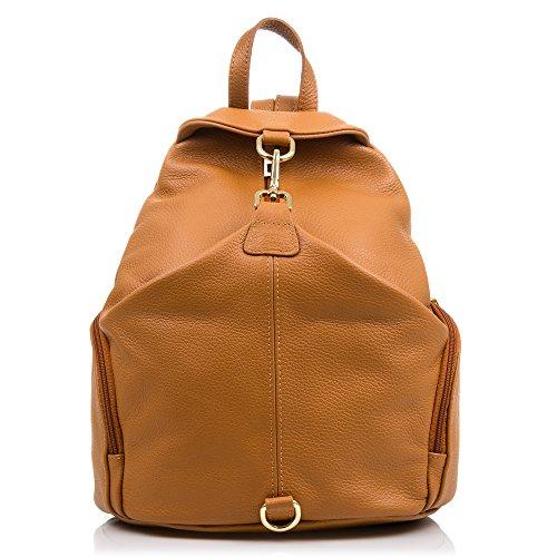 FIRENZE ARTEGIANI.Mochila de mujer casual piel auténtica.Mochila bolso grande cuero genuino Savage tacto suave y acabados de lujo. MADE IN ITALY. VERA PELLE ITALIANA. 32x35x17 cm. Color: CUERO Leather