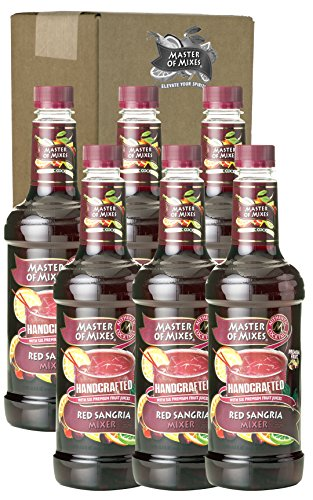 Master of Mixes Red Sangria Drink Mix, Ready To Use, 1 Liter Bottle (33.8 Fl Oz), Pack of 6
