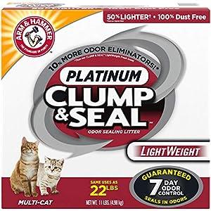 ARM & HAMMER Clump & Seal Platinum Lightweight Cat Litter, Multi-Cat, 11Lbs. 55