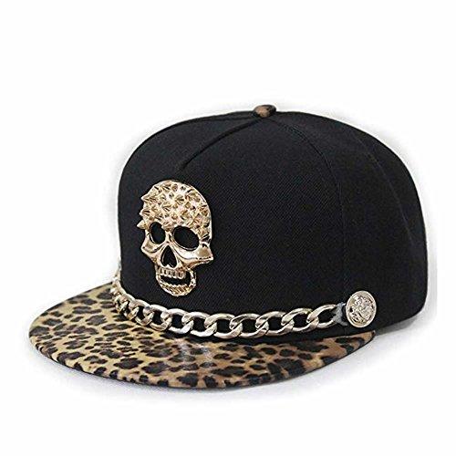 (Xuzirui Hip-hop Hat Metal Skull Studded Snapback with Chain Punk Rock'n'Roll Baseball Caps (Coffee Leopard Print))