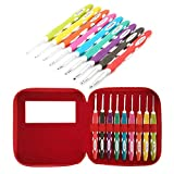 Ergonomic Crochet Hooks Set with Soft Grip, Crochet Hooks with Case for Arthritic Hands, Size from 2.0mm to 6.0mm(B~J)