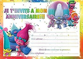 10 tarjetas invitación cumpleaños Trolls in French, color ...