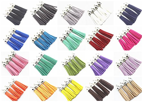(QIANHAILIZZ Mixed Color Faux Suede Tassel Leather Charm with CCB Cap for Keychain Cellphone Straps Jewelry Charms (40 silver tassel of 2-1/4inch))