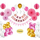 Happy Birthday Party Decorations for Girls, Happy Birthday Bunting Banner, Pink Stripe Triangle Bunting Flags, 6 Paper Fan Flowers, 2 Honeycomb Paper Balls and 21pcs Party Balloons - Pink