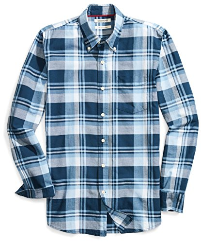 Goodthreads Men's Slim-Fit Long-Sleeve Lightweight Madras Plaid Shirt, Navy Oversized Plaid, Large
