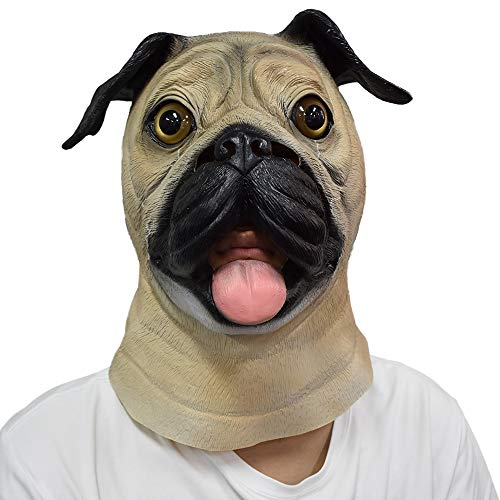 COMLZD Animal Dog Mask Pug Halloween Cosplay Costume Dog Head Mask for Adult (Best Pug Halloween Costumes)