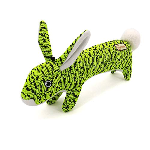 AXEN Bunny Durable Flyknit Dog Toy, Lovely Chewers, Interactive Squeakers, Green Rabbit