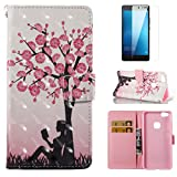 For Huawei P10 Lite Case and Card Holder,OYIME [Flower Tree and Girl] 3D Glitter Pattern Design Bookstyle Leather Wallet Holster with Wrist Lanyard Kickstand Function Full Body Protective Bumper Magnetic Closure Flip Cover with Screen Protector
