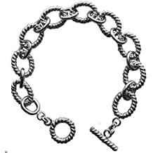 Designer Inspired 18k White Gold Plated Twisted Cable Link Bracelet with Toggle Clasp