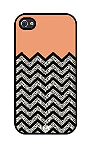 iZERCASE Chevron Pattern Coral and Black rubber iphone 4 case (NOT GLITTERY) - Fits iphone 4 & iphone 4s hjbrhga1544