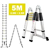 dicn 5M 16.5ft A Frame Telescopic Folding Ladder Aluminium Extendable Extension Foldable Portable Steps Ladders Indoor Outdoor 330lbs Load Capacity