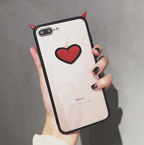 iPhone X Case, Embroidery Heart Devil Corner, Transparent Black Pink Border Phone Case, Creative Simplicity iPhone X Soft Protective Case for Couple Girls Boys (Red Demon Corner, iPhone X)