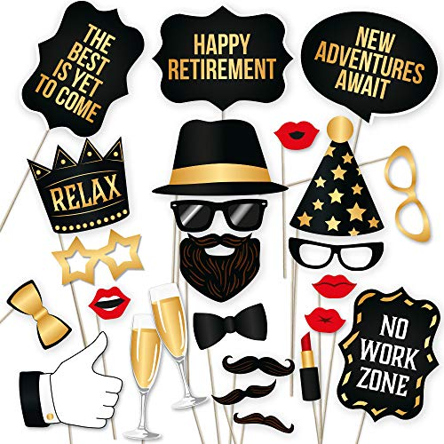 Retirement Photo Booth Props By PartyGraphix - European Made Black and Gold Retirement Party Decorations - Easy To Assemble Funny Retirement Party Prop - Retirement Decorations Kit Includes 34 Pieces ()