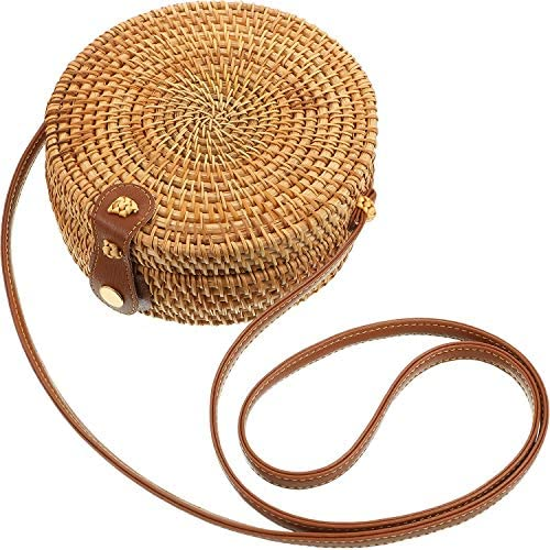 Handwoven Round Rattan Bag Crossbody Rattan Clutch Bag Woven Circle Bag Shoulder Bag Vintage Beach Style Boho Bag for Women Girls