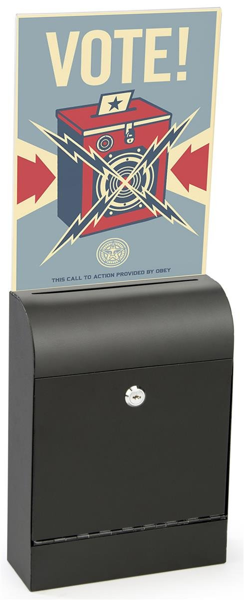 Displays2go Donation Box, Metal, Slim Profile, Locking, Holder for 8.5 x 11 Sign, Hardware Included (Black Metal) (MSBCT8511B)