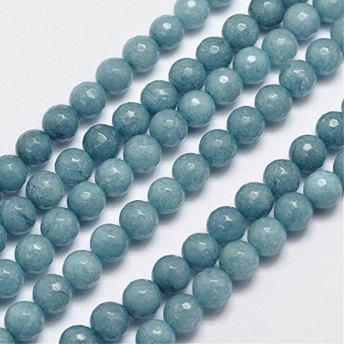 8mm Natural Malaysia Jade Imitation Aquamarine Faceted Gemstone Beads 14.5