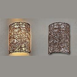 OAKLIGHTING Handmade Rattan Country Wall Lamp Light Modern Sconce Fixture Lighting (Brown)
