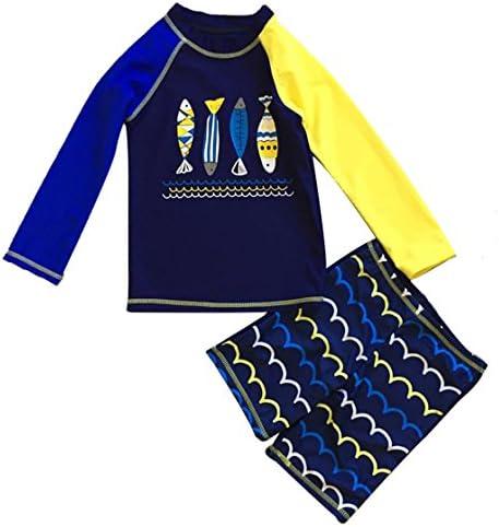 21ea790a1 FAYALEQ Little Boys Swimsuit Sun Protective Two Pieces Beach Swimwear Rash  Guard Sets