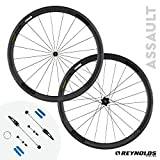 reynolds 3 - Reynolds Cycling Assault Rim Brake Carbon Fiber Wheelset for Road Bikes, Shimano Compatible