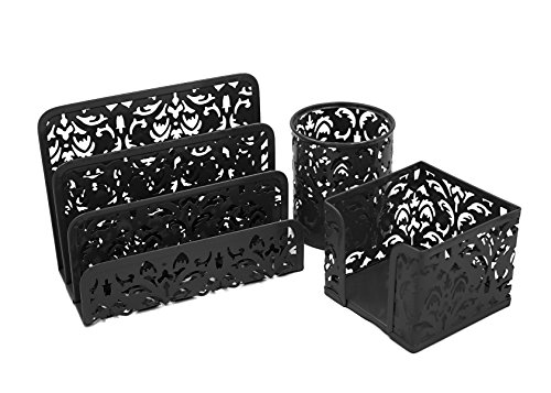 EasyPAG Metal 3 in 1 Desk Organizer Set - Letter Sorter, Pen Holder and Sticky Notes Holder,Black