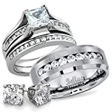 His and Hers Wedding Ring Sets Titanium Stainless Steel CZ Bridal Matching Wedding Rings Set + FREE STERLING SILVER EARRINGS