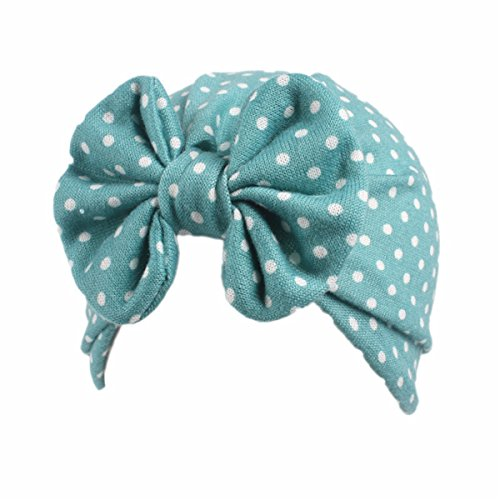 (Qhome Baby Girls Vintage Big Bow Stretch Turban Girl Bow Beanie Cap Headbands 18 Colors)