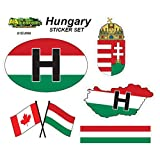 Hungary - Set of Vehicle Stickers. Great Gift idea for Your Friend or Family Member Perfect for Outdoor or Indoor use.