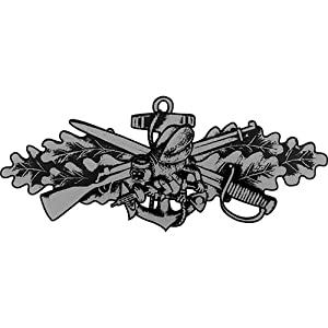 Seabee Combat Warfare (Silver) Clear Decal by Mitchell Proffitt