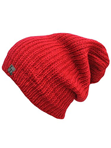 Luxury Divas Red Mohair Style Knit Slouchy Beanie Cap Hat (Luxury Mohair)