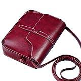 Vintage Crossbody, AgrinTol Vintage Purse Bag Leather Crossbody Shoulder Messenger Bag (Red)