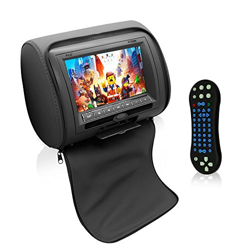 Pyle Car Seat Headrest DD TV Display Monitor 7 inch Widescreen with Remote Control, Built in DVD Player, USB / SD Reader, FM & IR Transmitter for Travel with Movie / Video, TV, Games – PL74DGR