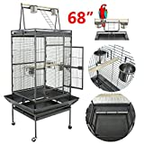 "Super Deal 53""/61""/68"" Large Bird Cage Play Top Parrot Chinchilla Cage Macaw Cockatiel Cockatoo Pet House, 68 inch"