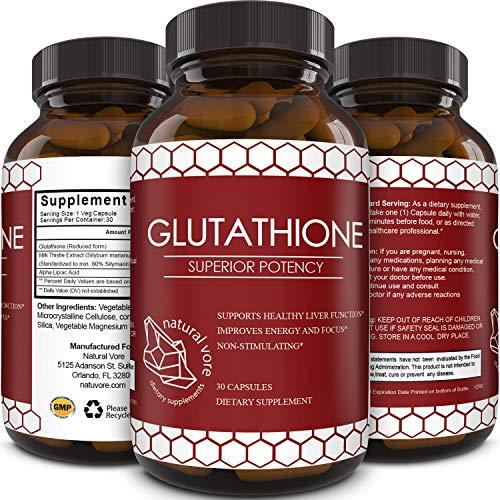 51mAVj9c6tL - Best Glutathione Supplement - Natural Skin Whitening Anti-Aging Benefits Reduced L-Glutathione Pills for Men & Women - Pure Antioxidant Milk Thistle Extract Liver Health GSH Detox - Natural Vore