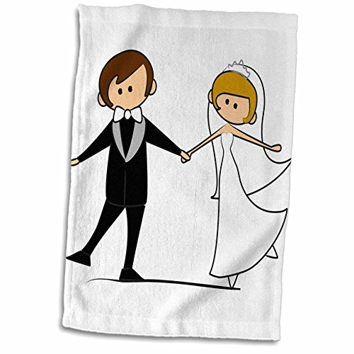 3D Rose Dancing Bride and Groom Cartoon Towel, 15