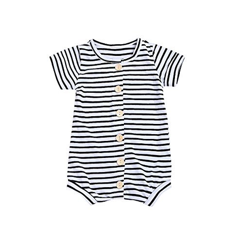Younger Tree Infant Toddler Baby Boy Romper Summer Jumpsuit Short Sleeve Clothing Set (Stripe, 12-18 m) by Younger Tree