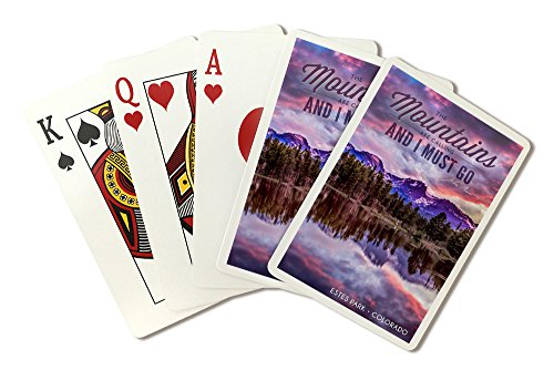 John Muir - The Mountains are Calling - Estes Park, Colorado - Sunset and Lake - Photograph (Playing Card Deck - 52 Card Poker Size with Jokers) by Lantern Press