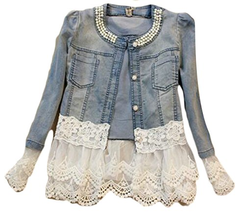 Alion Women Fashion Club Collar Long Sleeved Rhinestone Embellished Lace Trim Coats As Picture XL