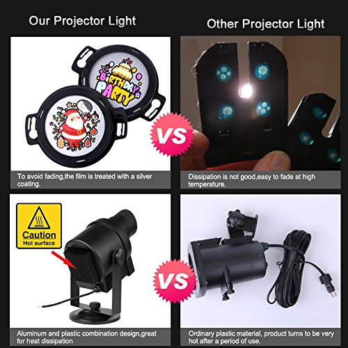 acrato led christmas lights outdoor projector holiday spotlight light ip65 waterproof 30pcs replaceable 360 rotating non fading