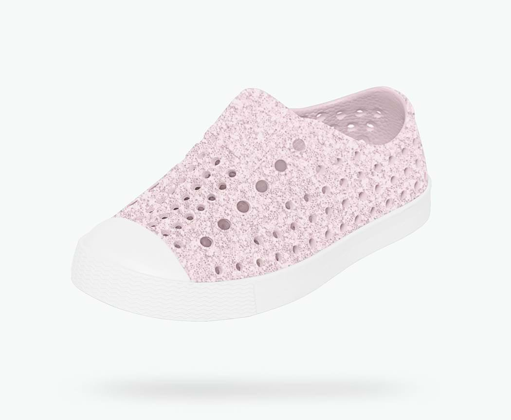 Native Shoes Girls' Jefferson Bling Flat Milk Pink/Shell White 3 M US Little Kid