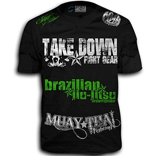 Walk Out Mma Shirt (Take Down Fight Gear Skull Muay Thai Fighting Brazilian Jiu-Jitsu Walk-Out MMA UFC Tapout Style T-shirt (3XL, Blacl / Green White Logo))